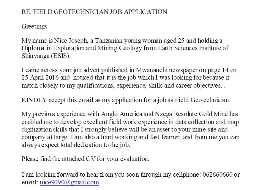 Example Of Job Application Letter For A Geotechnician Geologist