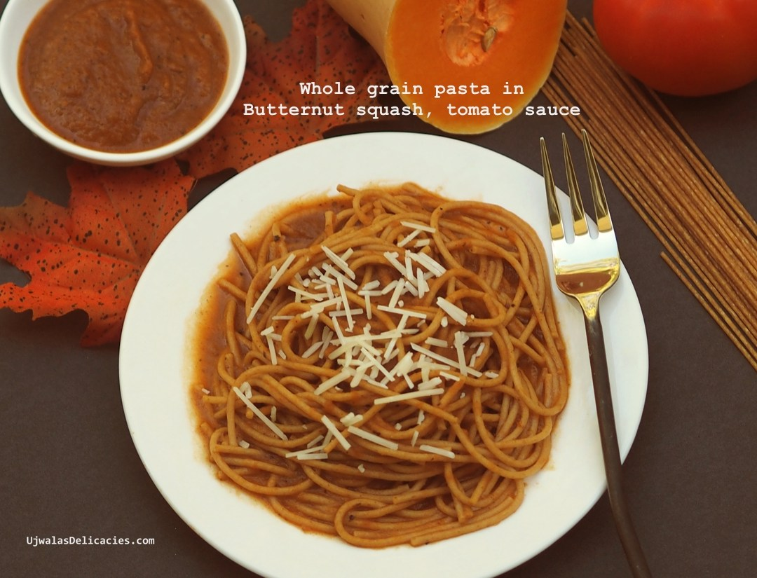 Whole-grain pasta in pumpkin, tomato sauce