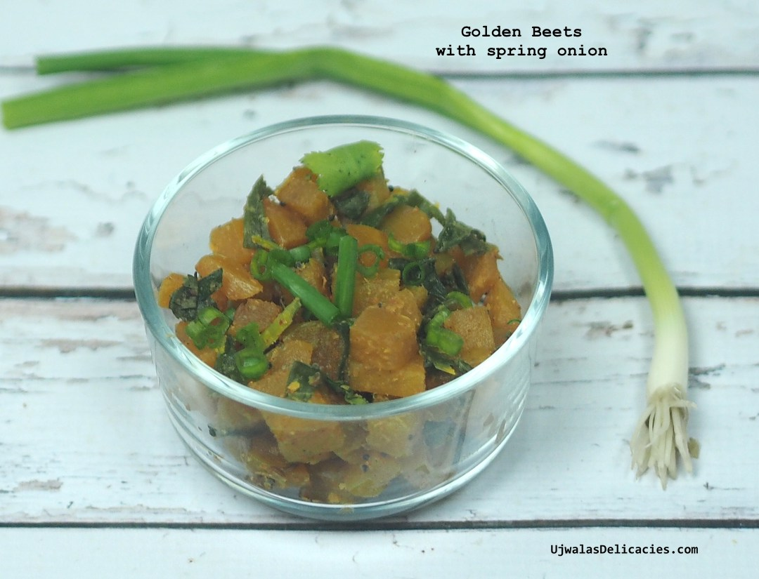 Golden beets with scallions