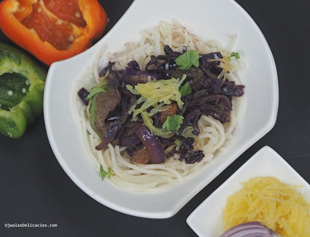 Purple cabbage with Shirataki noodles