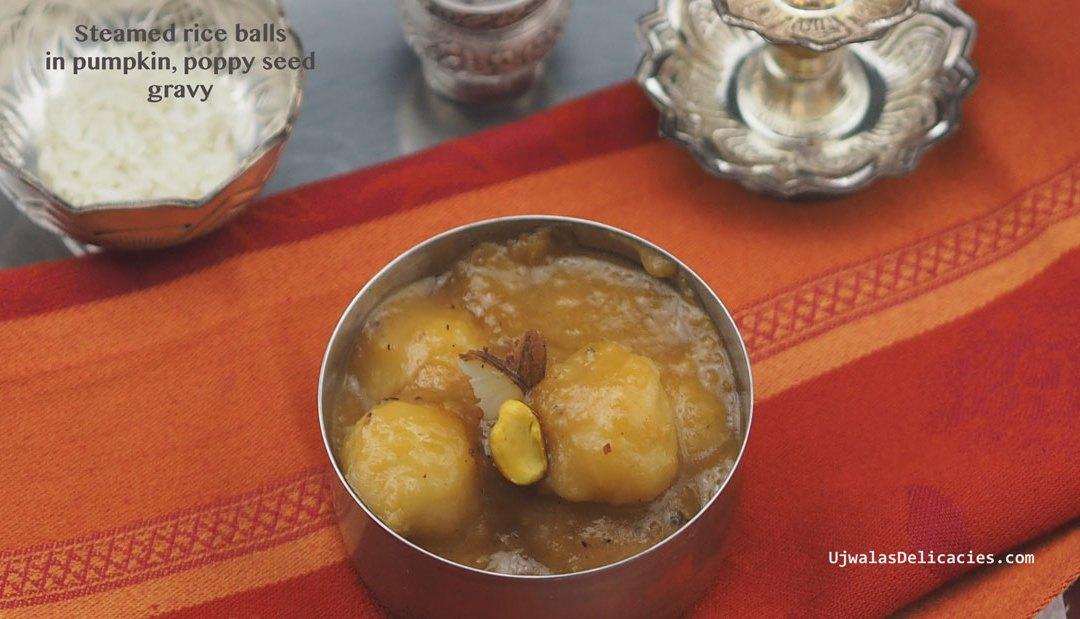 Steamed rice balls in pumpkin, poppy seed gravy