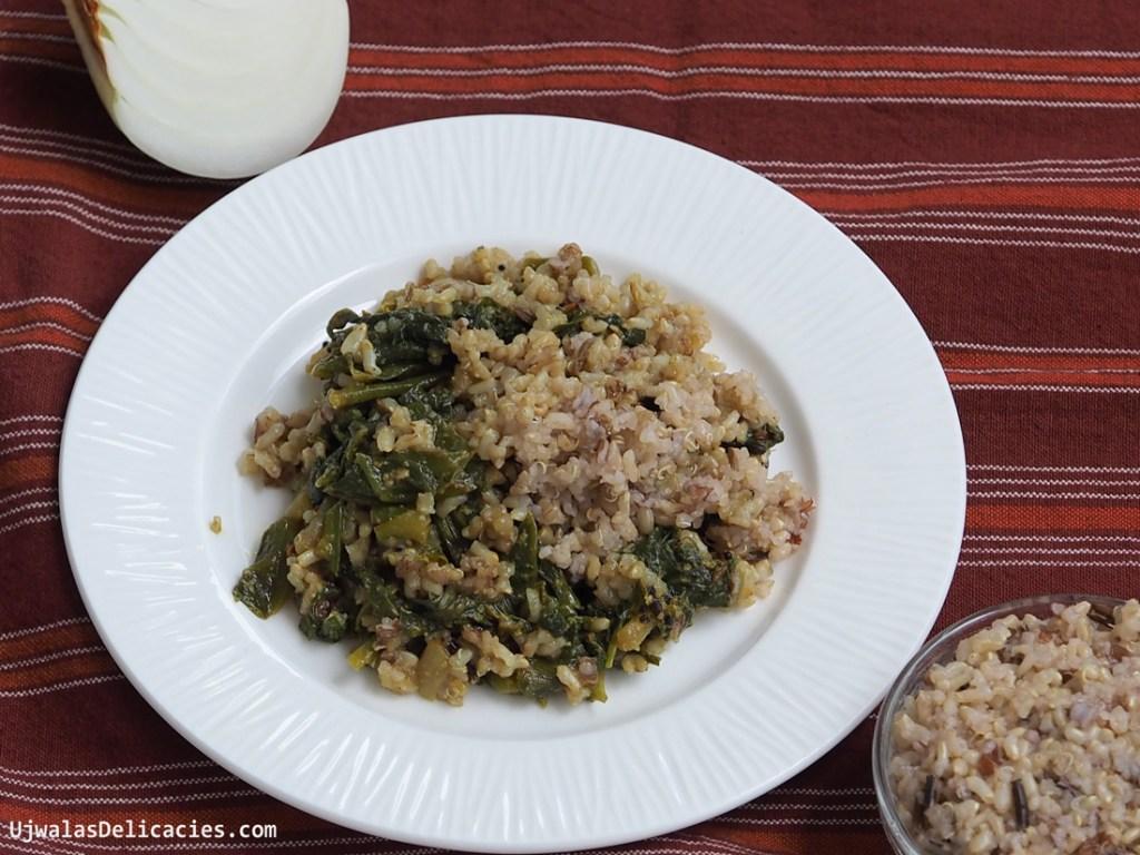 Malabar spinach, sesame saute