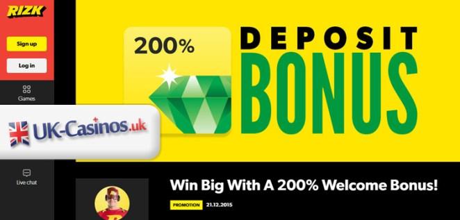 Rizk UK Casino Bonus