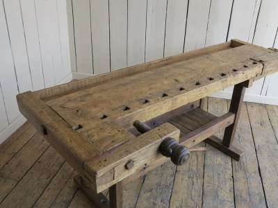Antique Woodworking Wooden Vintage Bench With Vices