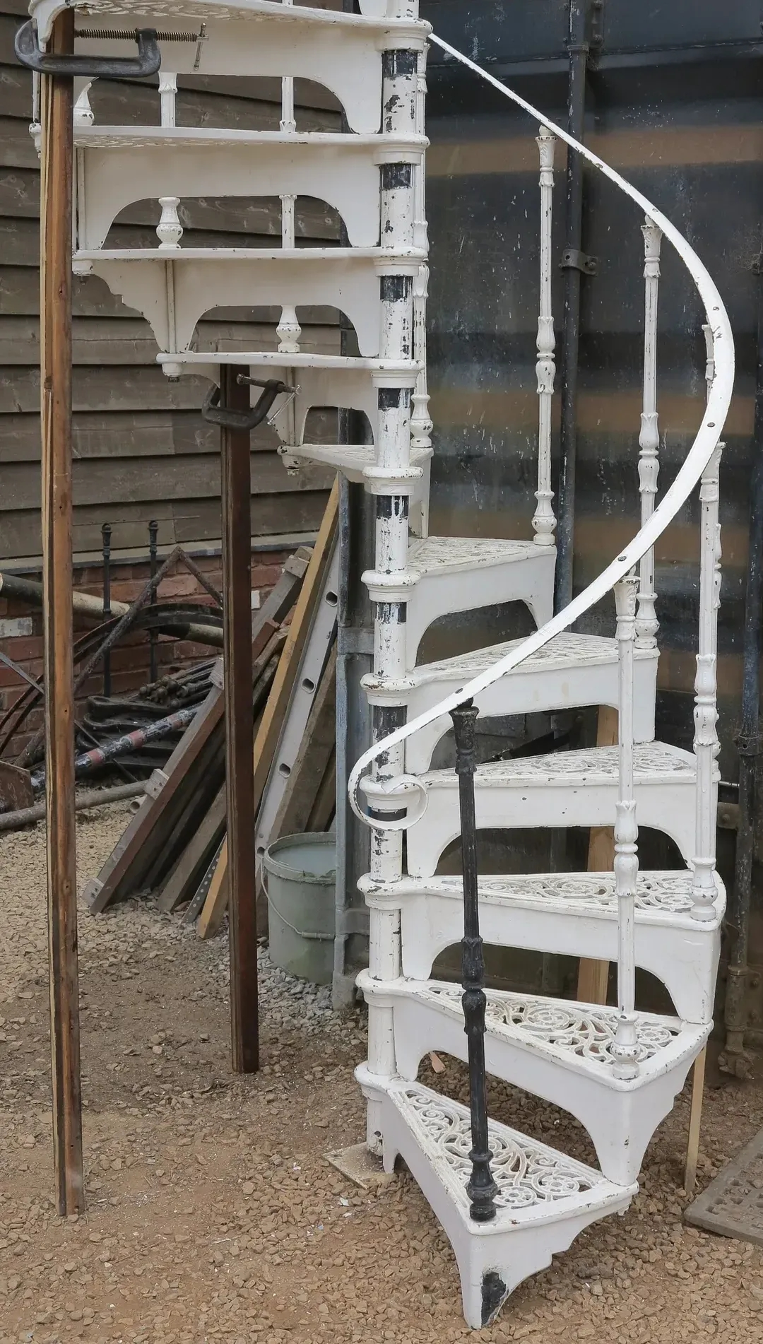 Reclaimed White Cast Iron Spiral Staircase Kits | Spiral Staircase For Sale