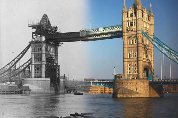 Tower Bridge en construction à la fin du XIXe siècle est bien entendu fini de nos jours.