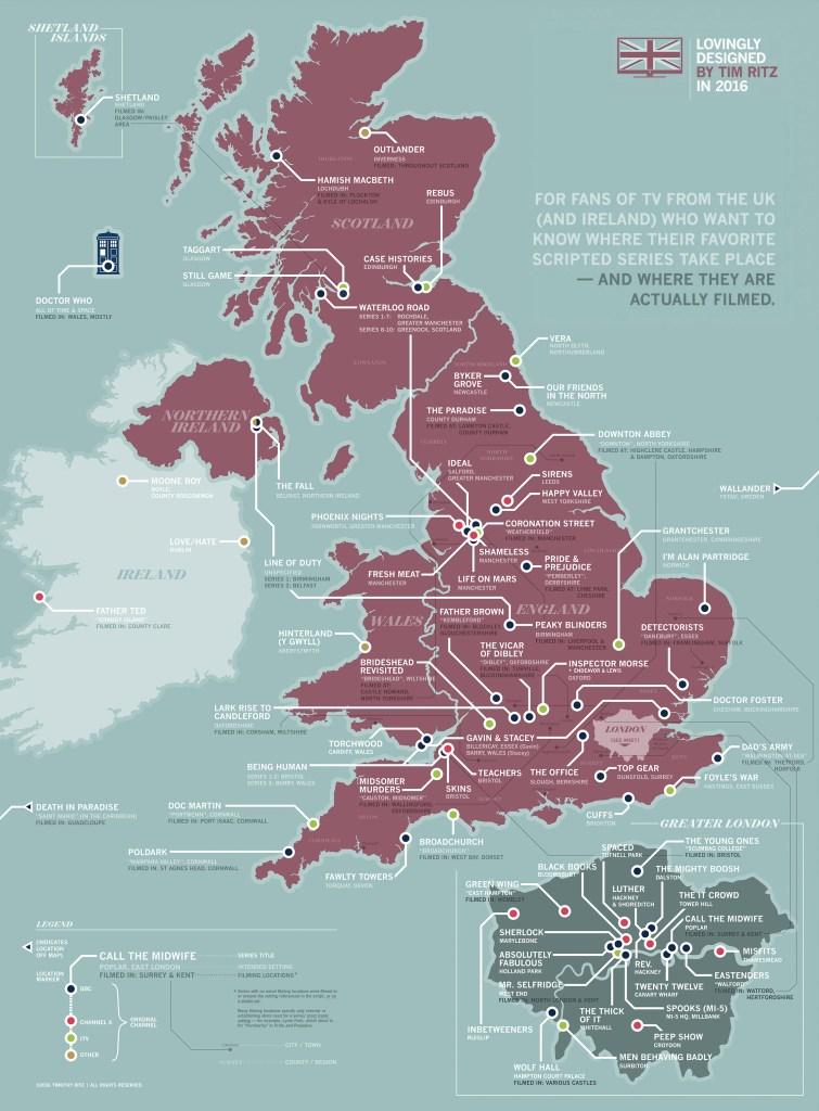 Carte des séries TV Britanniques