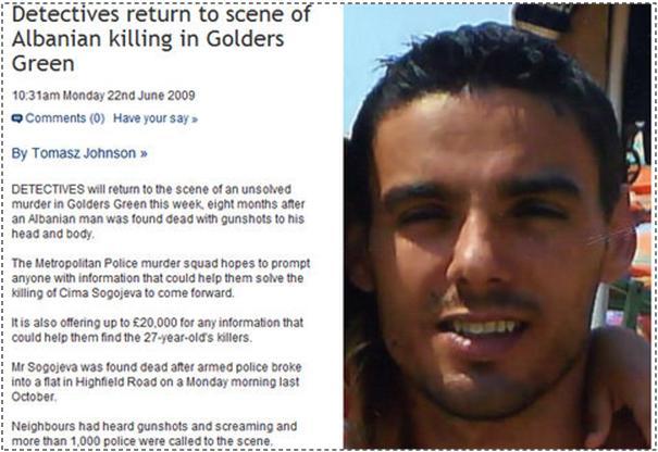 £20,000 për informata se kush e vrau shqiptarin në Golders Green