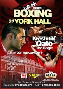 Kreshnik Qato's boxing match poster, 20 February 2011