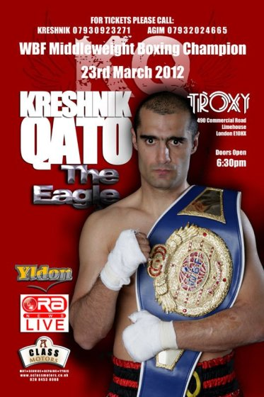 Kreshnik Qato, WBF Middleweight Boxing Champion, is boxing in London on 23rd March 2012
