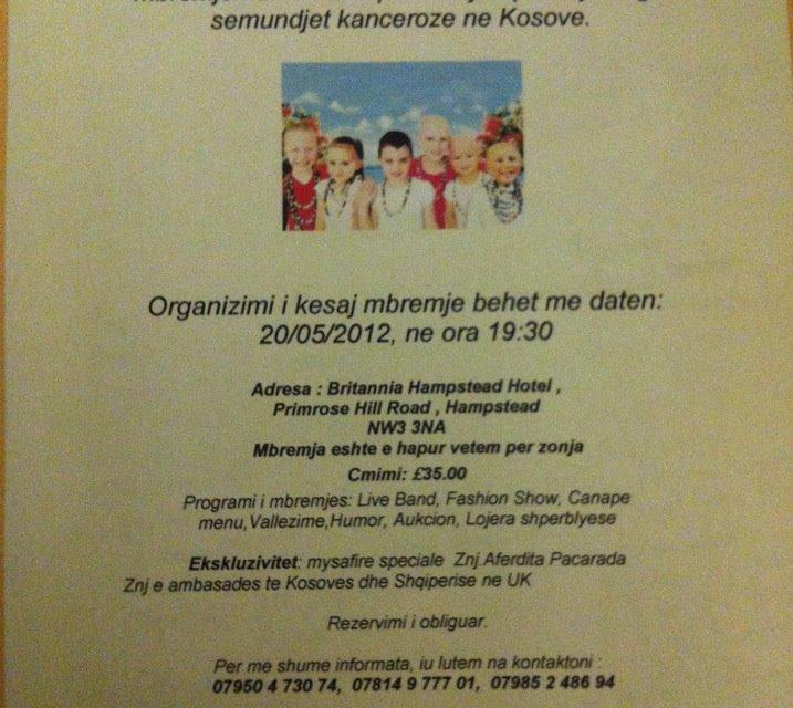 <!--:sq-->Mbrëmje humanitare për fëmijët që vuajnë nga sëmundjet kanceroze në Kosovë, 20 maj 2012<!--:-->