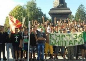 "Macedonian Slavs with Nazi salutes chant ""Death to Albanians"""