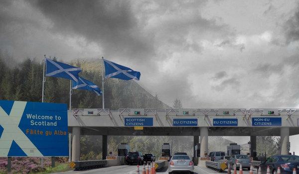 Artist's impression of independent Scotland border crossing.