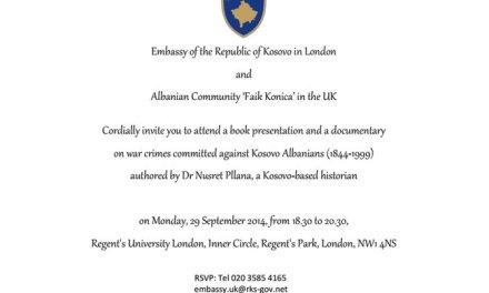 Promovim libri në Londër, për krimet serbe ndaj shqiptarëve, 29 shtator 2014