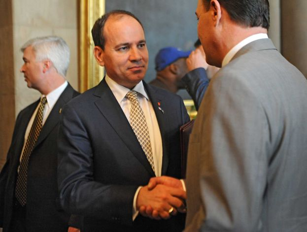 Albanian President Bujar Nishani, left, shakes hands with people as he walks out of the senate chamber after making a speech at the New York State Capitol on Tuesday, May 5, 2015 in Albany, N.Y. (Lori Van Buren / Times Union)