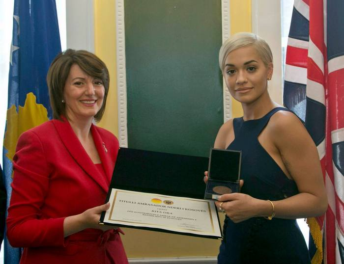 Kosovo President Atifete Jahjaga and Rita Ora after naming her a honorary ambassador to Kosovo.