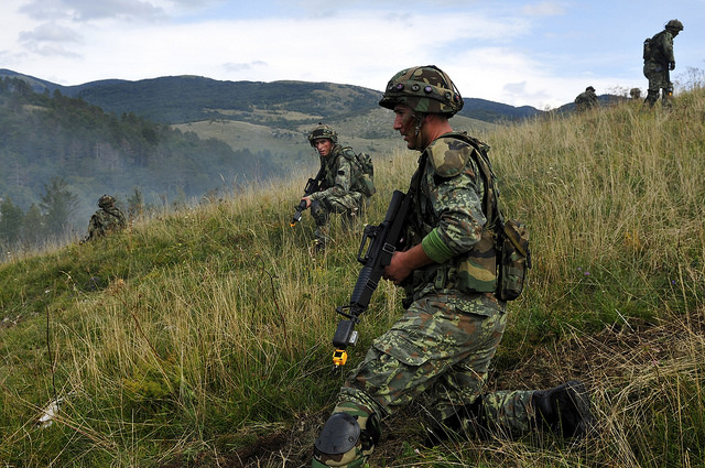 Albanian Soldier prepare to defend a hill during training at IR15 September 13 2015