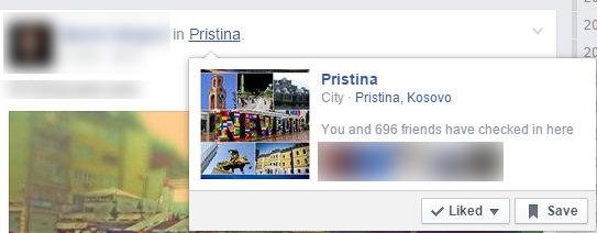 Pristina location listing on Facebook