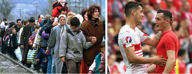 Right: Kosovo Albanian civilians fleeing from Serbian terror, March 1999. Right: The Xhaka brothers pictured after their Euro 2016 encounter on Saturday in Lens.