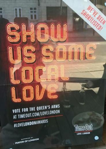 Queens Arms Pub, nominimi per Time Out Love London Awards
