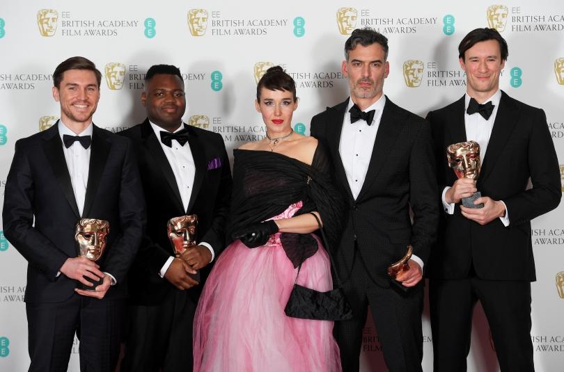 HOME short movie award at BAFTAs. From left to the right: Shpat Deda, Afolabi Kuti, Arta Dobroshi, Daniel Mulloy and Scott O'Donnell, 12 February 2017