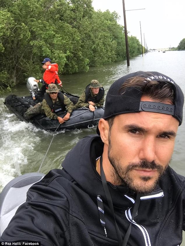 When Texas' Bay Area was under water after Hurricane Harvey, thousands of Texans banded together to help each other get to safety, including Raz Halili (right) and his cousin Gezim