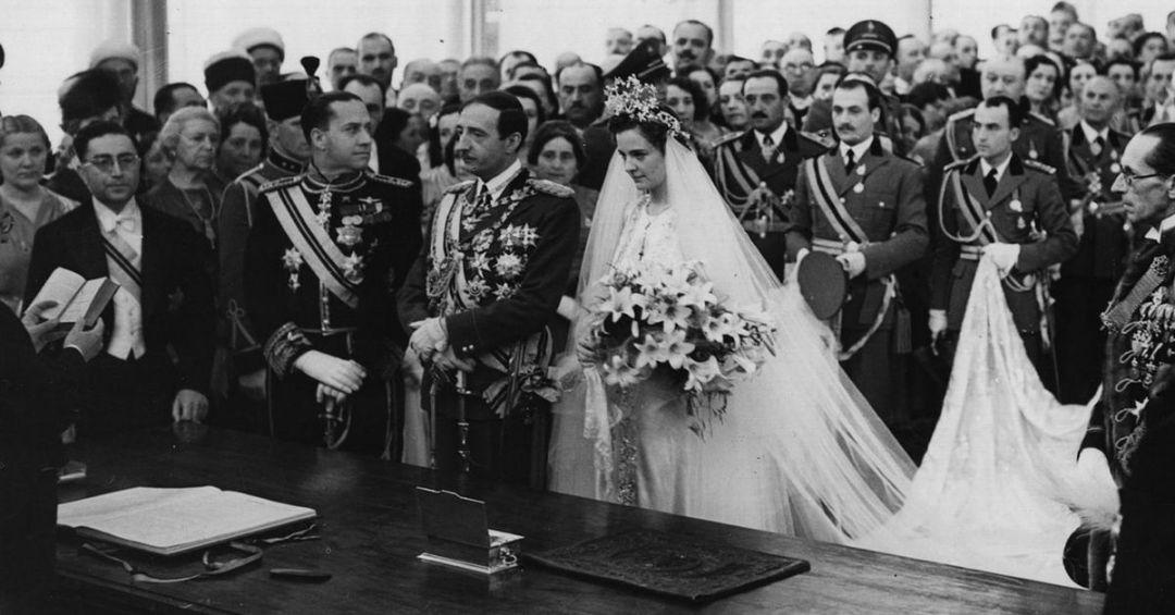King Zog I of the Albanians marries Countess Geraldine Apponyi de Nagy-Apponyi, 27 April 1938