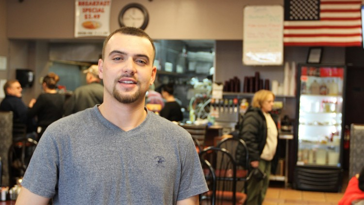 "Mentor (""Tony"") Rama in his Olympic Family-Style Restaurant, Springfield, USA"