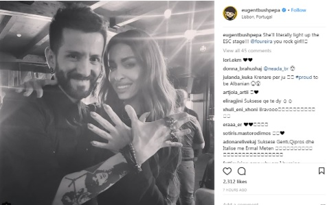 Eugen Bushpepa and Eleni Foureira making together the Albanian eagle gesture