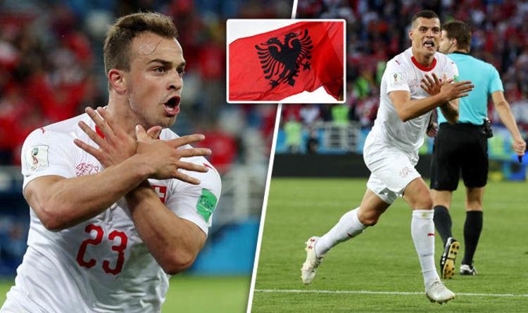 Shaqiri e Xhaka celebrating after their scores against Serbia last night