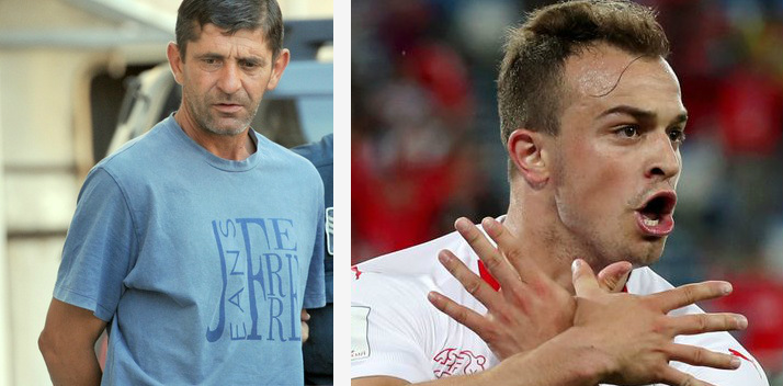 Vlado Zmajevic (left), the Montegrin killer of Shaqiri's villagers in 1999. Xherdan Shaqiri (right) gesticulating Albanian flag in defiance of Serbian fans provocations during the Serbia - Switzerland (1-2) football mach on 22 June 2018, World Cup in Russia.