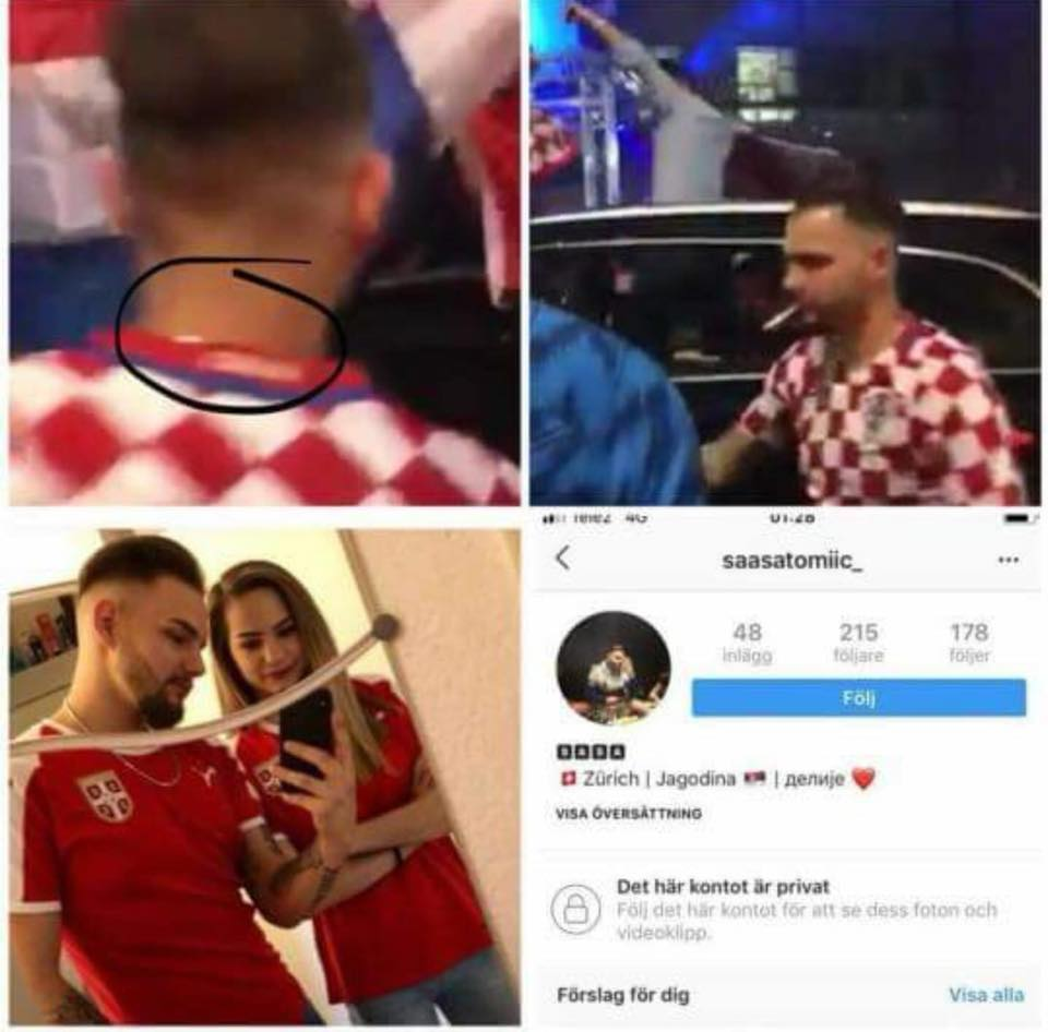 Is the Croatia fan who has debased an Albanian flag in Zurich, Switzerland, on 11th July 2018, a Serb call Sasa Tomic?
