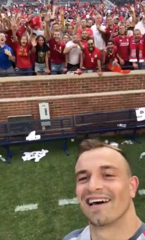 Xherdan Shaqiri's selfie with Liverpool fans after the stunning victory against Manchester United (Manchester United 1-4 Liverpool), 28 July 2018