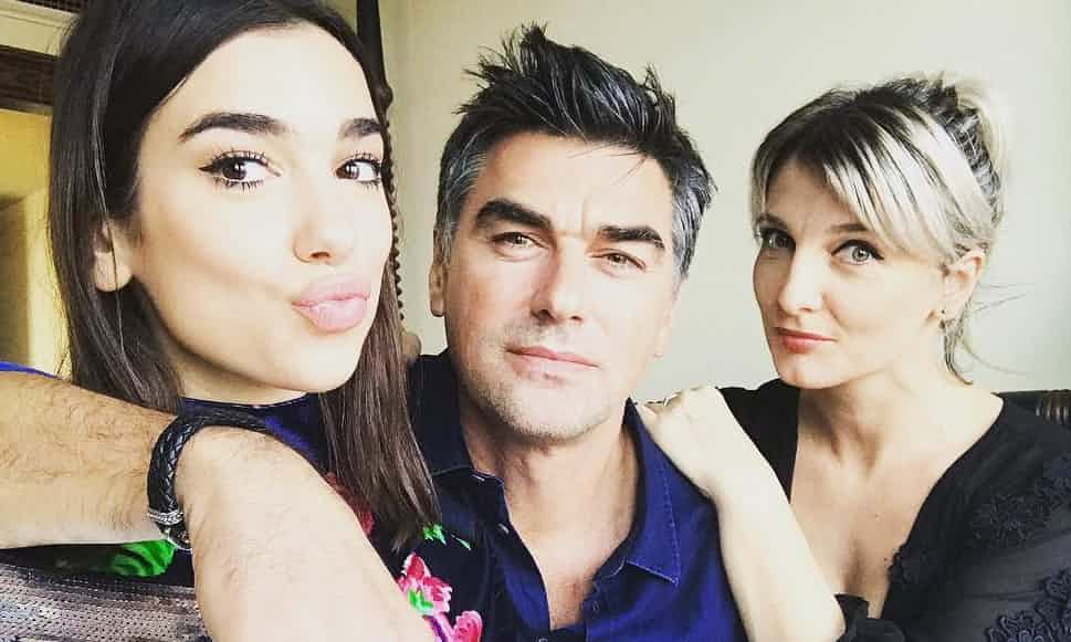 Dua Lipa, left, with her father Dukagjin and mother Anesa. Photograph: @dukagjinlipa