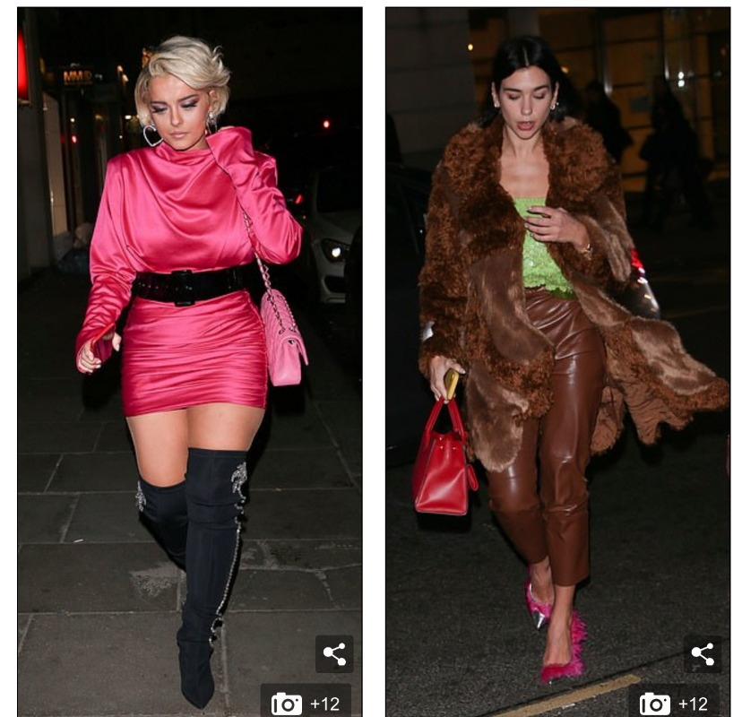 Stars: Bebe Rexha and Dua Lipa looked stylish as they joined forces for a dinner at London hotspot Sketch on Friday