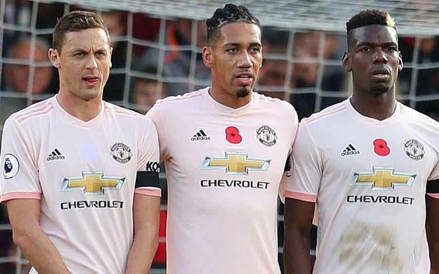 Nemanja Matic (left) also chose to not wear a poppy during United's game with Bournemouth CREDIT: GETTY IMAGES