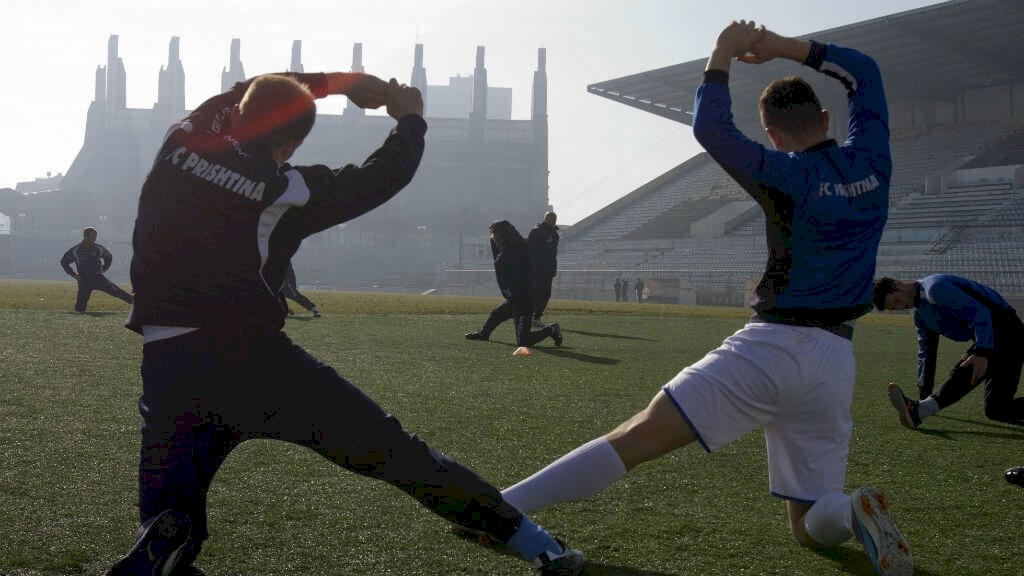Kosovo football team training at the Prishtina stadium