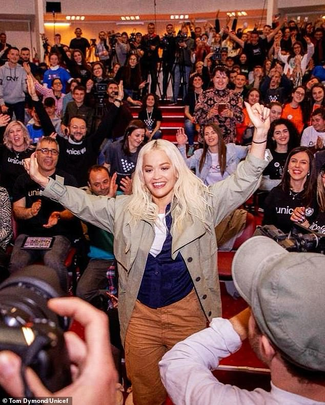 Back in Kosovo:  Yesterday Rita Ora surprised more than 400 children at the Activate event in Prishtina, Kosova, as part of her work with Soccer Aid.