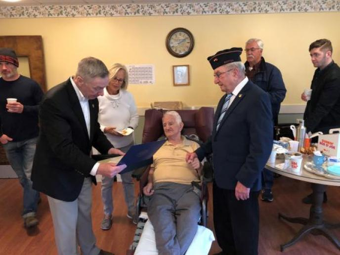Last week Congressman Stephen F. Lynch presented the Office of Strategic Services (OSS) Congressional Gold Medal to United States Army Private Semeon 'Sam' Simollari of the Albanian Unit, Company B, 2677th Regiment, for his remarkable courage and service in World War II.