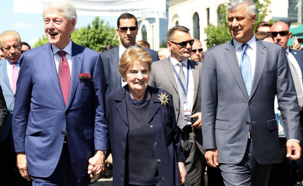 Former U.S. President Bill Clinton, Madeleine Albright, President of Kosovo Hashim Thaci walk during the 20th anniversary of the Deployment of NATO Troops in Kosovo in Pristina, Kosovo June 12, 2019. REUTERS/Florion Goga