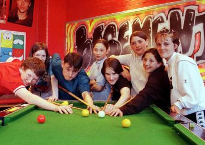 A sponsored pool marathon in the Basement bar of Alfred Barrow School, Barrow, in June 1999 for the Kosovar refugees based at Ulverston.