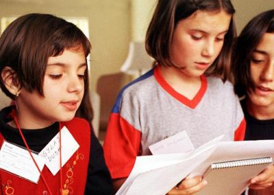 Kosovar children during a language lesson at the former Victoria School, Ulverston, in May 1999.