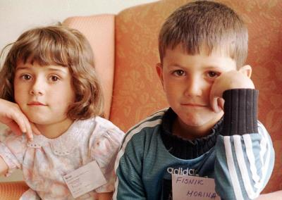 Kosovar refugees pictured at the refugee centre in Victoria School, Ulverston, in May 1999.