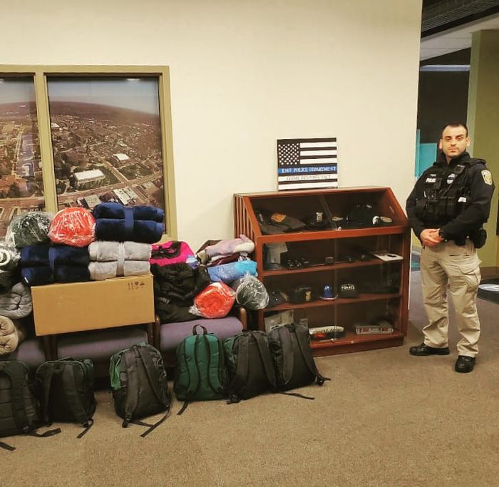 Officer Qani Toro of the EMU Police Department halted a planned vacation to see family in Albania to help victims of the Nov. 26 earthquake near the coastal city of Durres. Photo courtesy of the EMU Police Department.