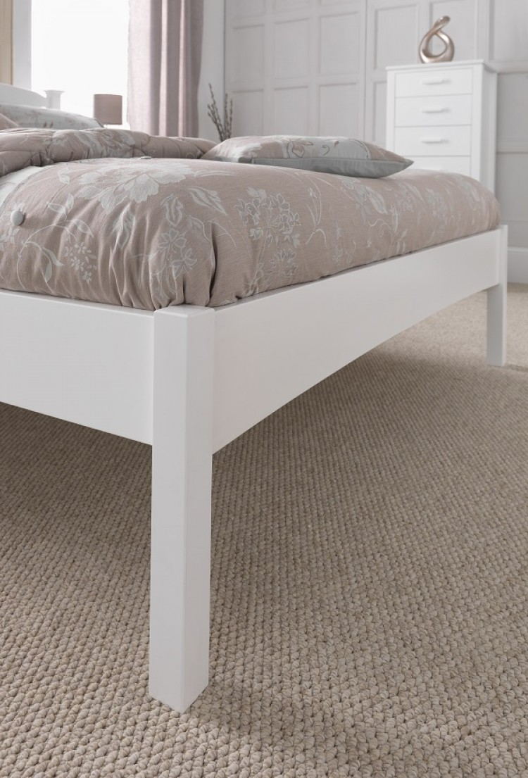 Serene Eleanor 3ft Single White Wooden Bed Frame With Low Footend By Serene Furnishings