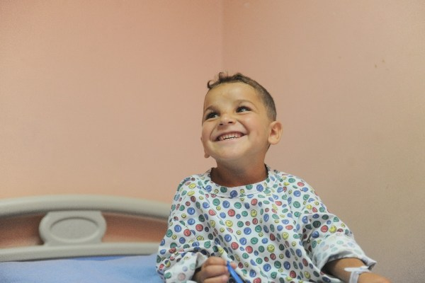 A child in hospital, sponsored by UK Care for Children