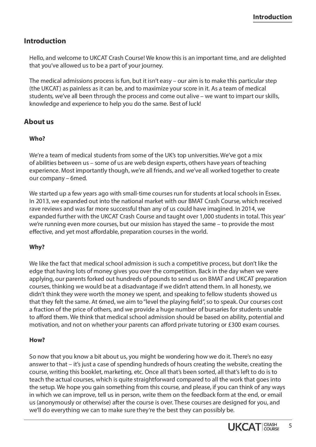 UKCAT Crash Course handbook page 4