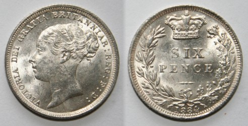 Sixpence, which is also known as the two-and-a-half-pence peice