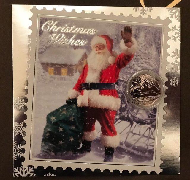 Snowman 50p Santa Christmas Card