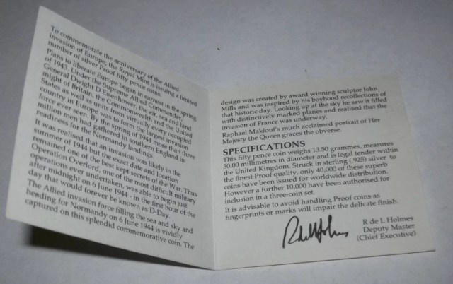 D-Day Silver Proof COA